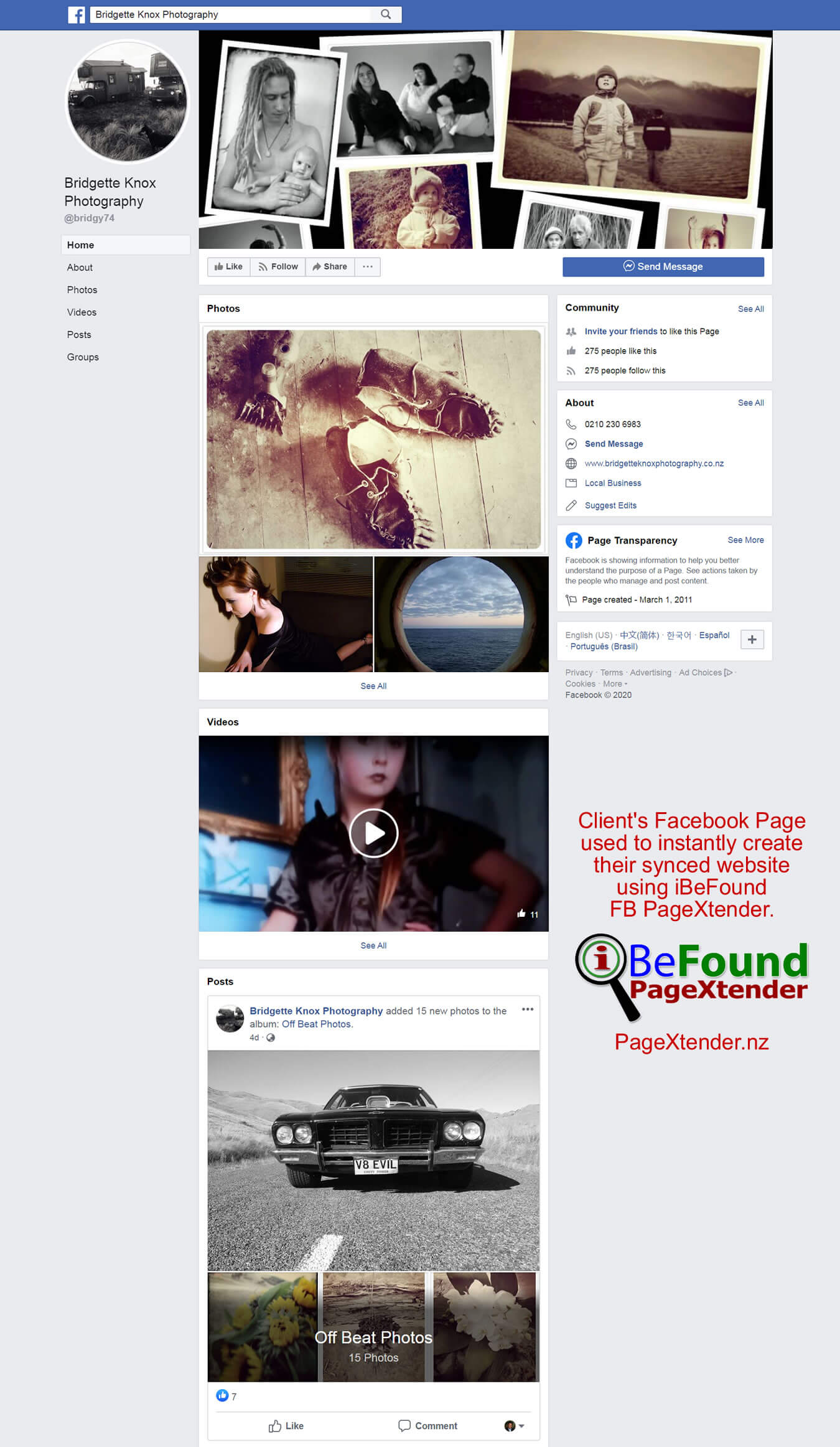 FB Page Of Bridgette Knox Photography Used For Instant Site Creation By IBeFound PageXtender NZ