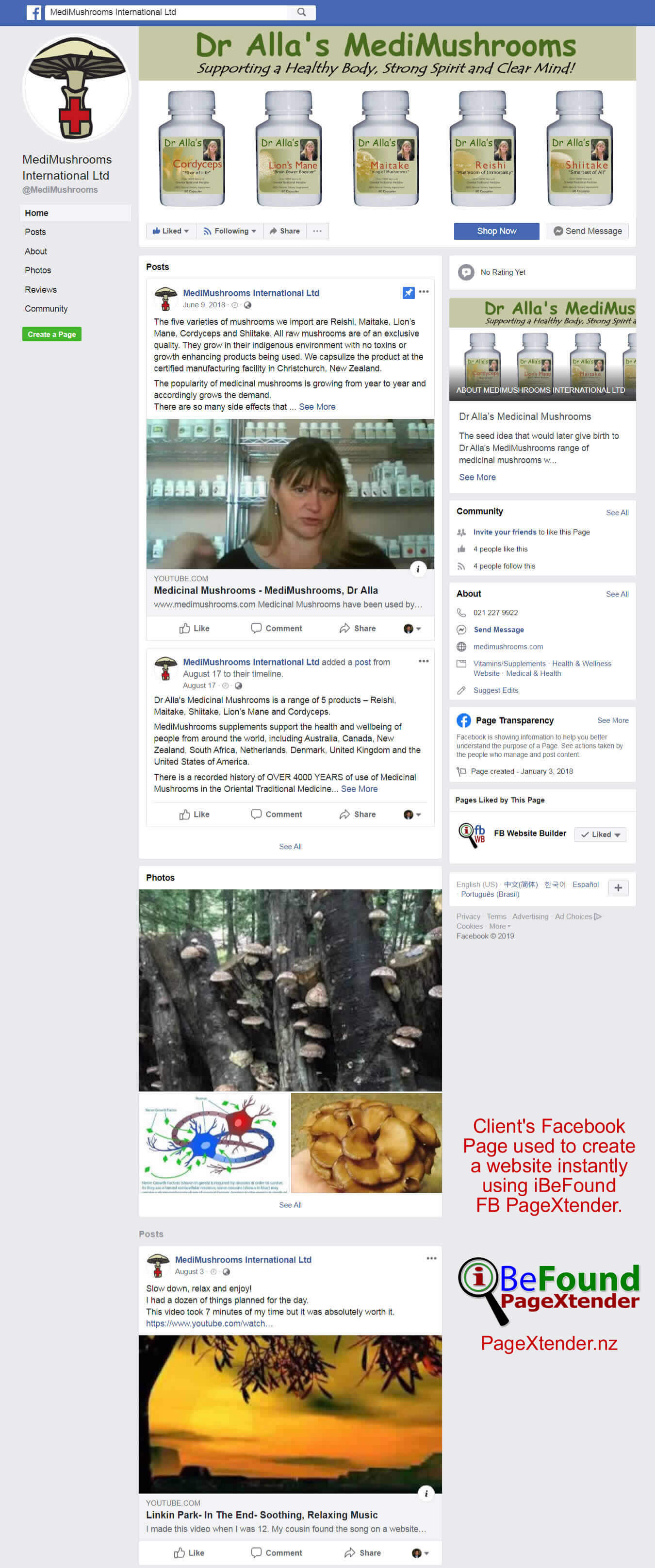 FB Page Of Dr Allas MediMushrooms Used For Instant Site Creation By IBeFound FB Website Builder NZ