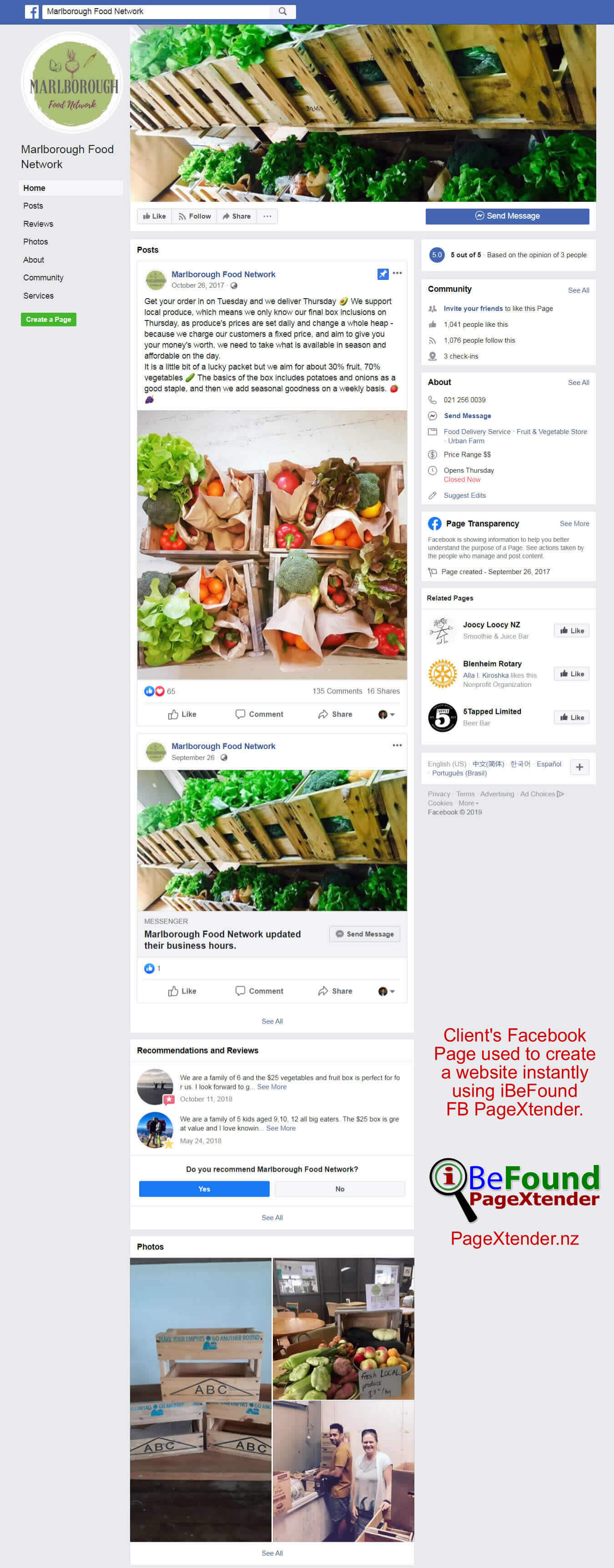 FB Page Of Marlborough Food Network Used For Instant Site Creation By IBeFound FB Website Builder NZ