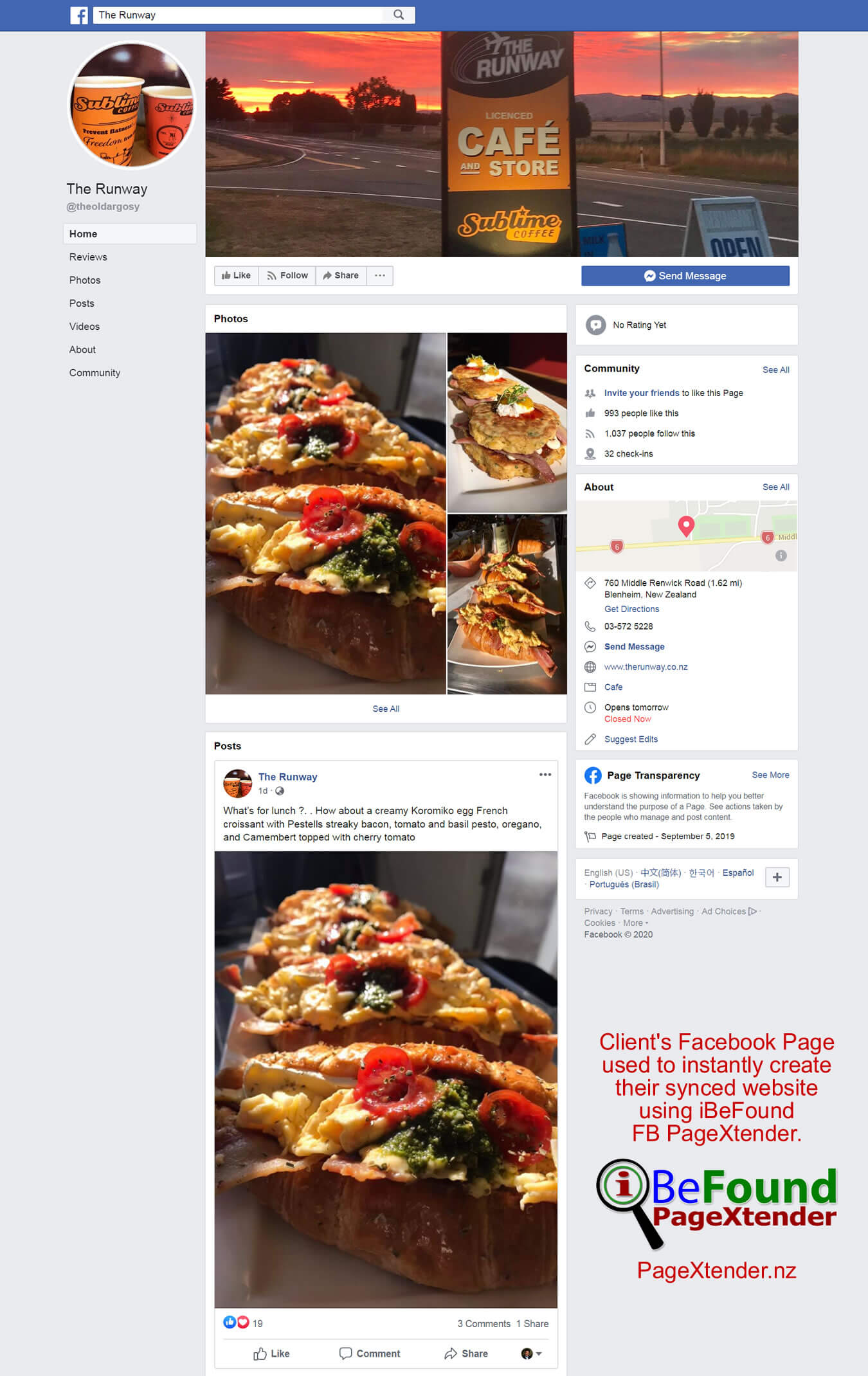 FB Page Of The Runway Cafe And Store Used For Instant Site Creation By IBeFound PageXtender NZ