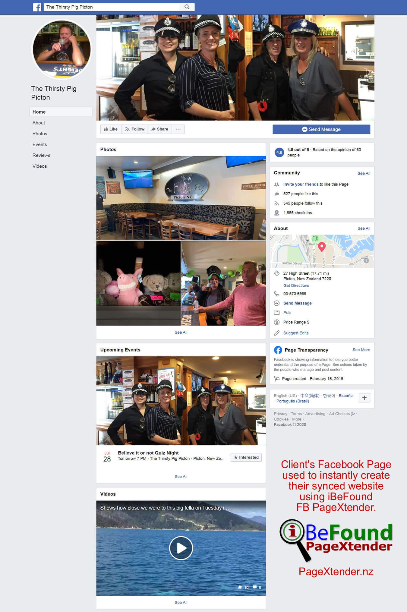 FB Page Of The Thirsty Pig Picton Used For Instant Site Creation By IBeFound PageXtender NZ