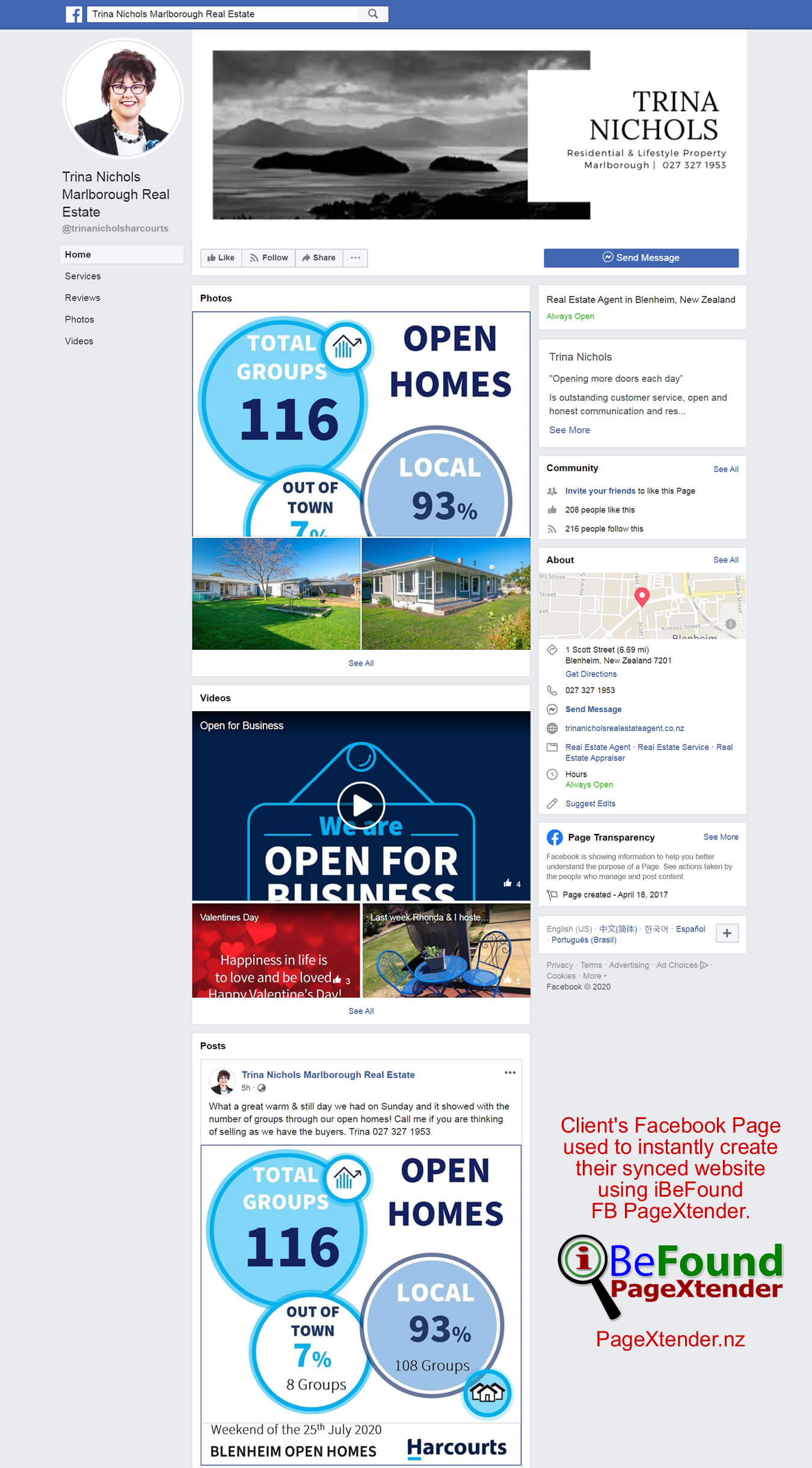 FB Page Of Trina Nichols Marlborough Real Estate Used For Instant Site Creation By IBeFound PageXtender NZ