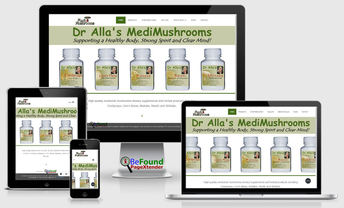 Facebook Website For Dr Alla's MediMushrooms Created With IBeFound FB PageXtender NZ