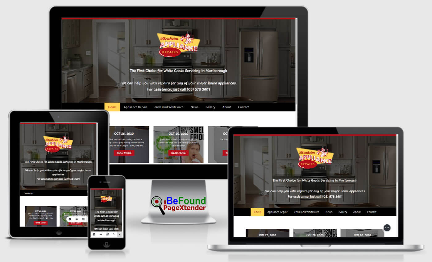 Instant Business Website For Blenheim Appliance Repairs Created With PageXtender From iBeFound NZ