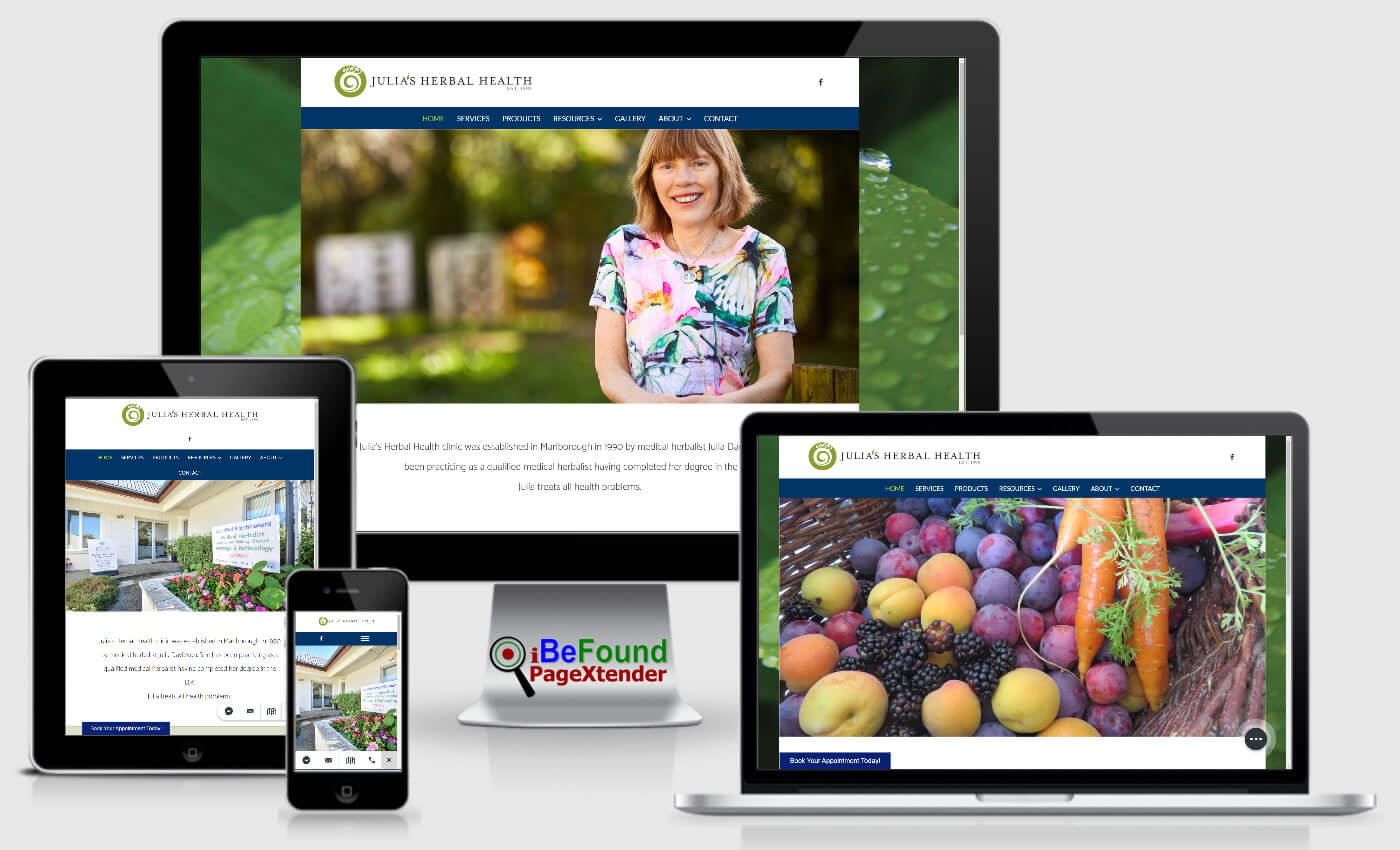 Instant Business Website For Julia's Herbal Health Created With PageXtender From iBeFound NZ