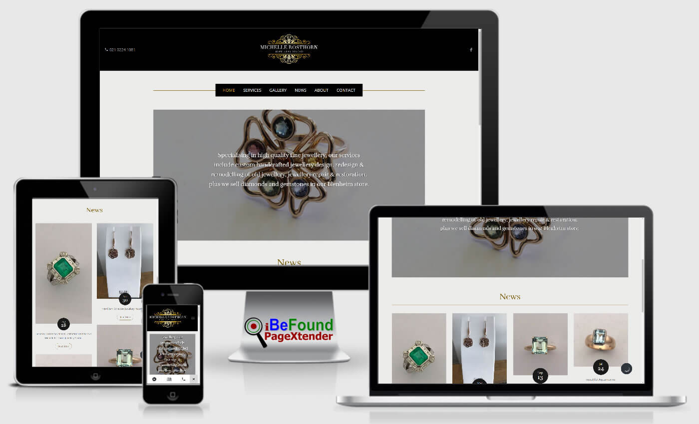 Instant Business Website For Michelle Rosthorn Jewellery Studio Created With PageXtender From iBeFound NZ