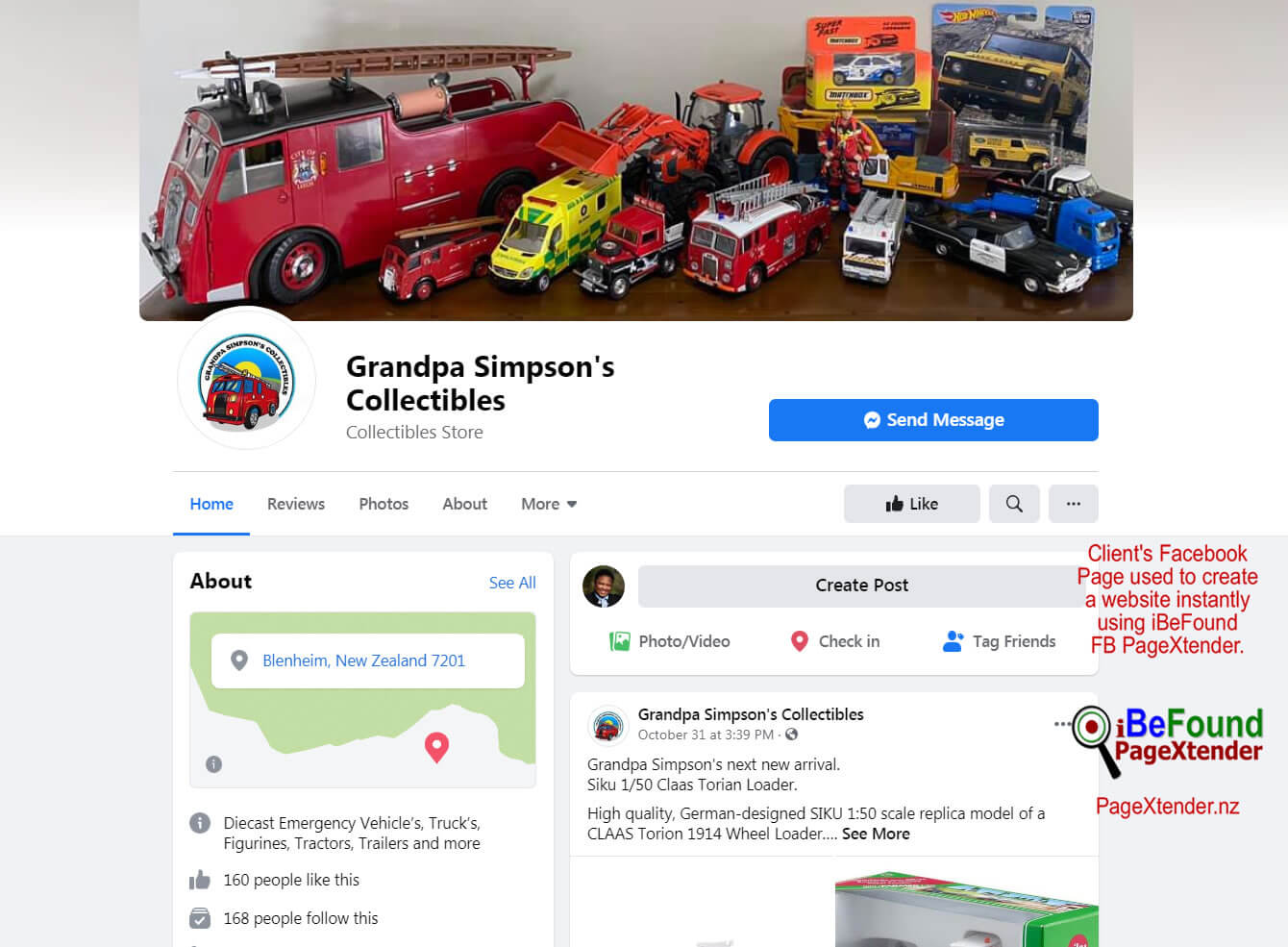 FB Page Of Grandpa Simpsons Collectibles Used For Instant Biz Site Creation With PageXtender By IBeFound NZ